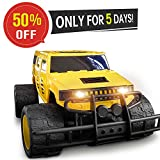 #1: DOUBLE E 1:12 Giant Wheel RC Truck 2.4Ghz Radio,Rechargeable Battery Remote Control Car,Yellow