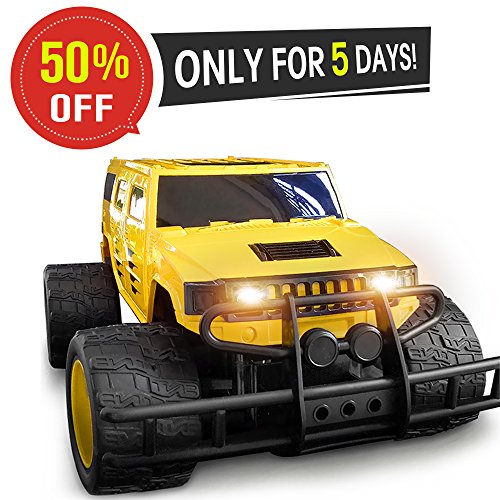 DOUBLE E 1:12 Giant Wheel RC Truck 2.4Ghz Radio,Rechargeable Battery Remote Control Car,Yellow