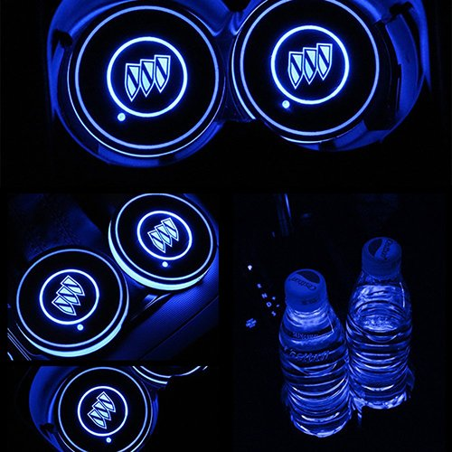 ZhengRong Car Logo LED Cup Pad led Cup Coaster USB Charging Mat Luminescent Cup Pad LED Mat Interior Atmosphere Lamp Decoration Light for Buick (2 Piece)