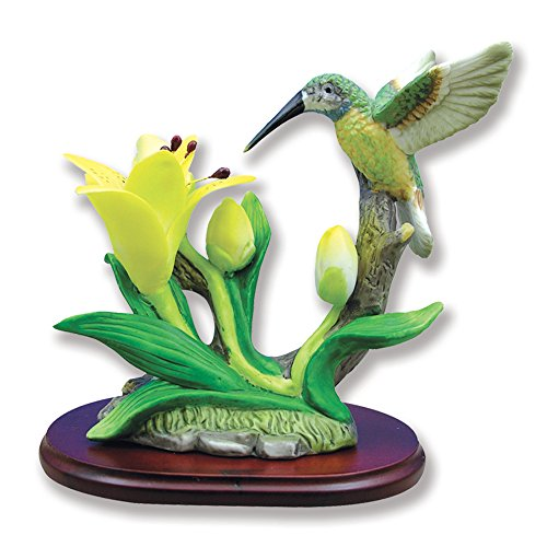 BANBERRY DESIGNS Hummingbird Figurine Porcelain with Lily Flower on Wood Base ()