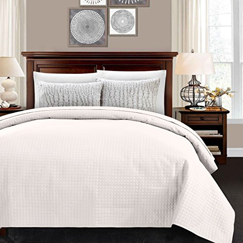 (ALPHA HOME Lightweight Bed Quilt, Classical Pattern Comforter Bedspread Coverlet Blanket - Queen Size, Ivory )