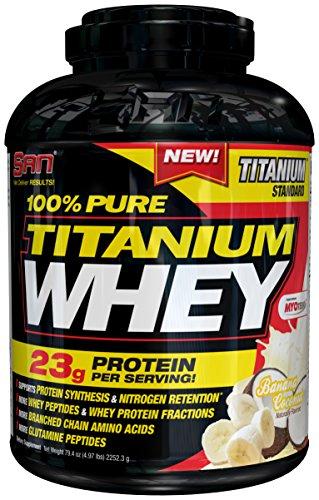 SAN Nutrition 100% Pure Titanium Whey Protein Powder, Banana Coconut, 5 Pounds (Whey Matrix Banana)