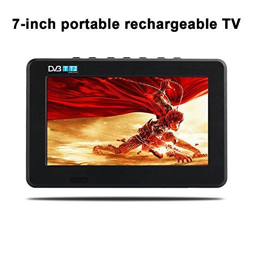 Hanbaili 7'' Portable Rechargeable TV, Portable DVB-T2 TV (H.265) + Analog TV CCTV Security Camera Monitor by Hanbaili