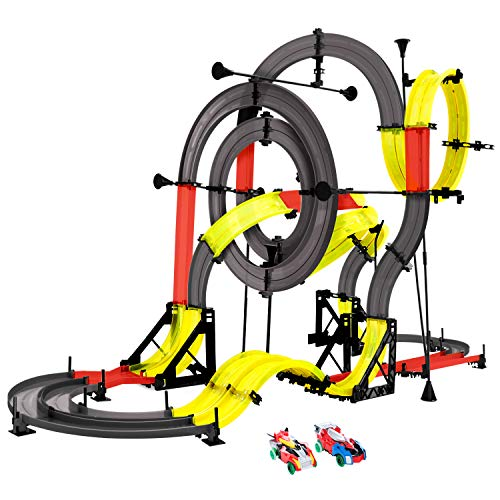 Peradix RC Slot Car Double Rail Race Car DIY Assembly Toy Playset 3D Racing Track 151PCs 960cm with 2 Cars+2 Remote Controller for Kids Age 6+ (The Sets Slot Best Car Racing)