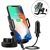Wireless Car Charger, PTUNA Wireless Charging Car Mount Air Vent Car Mount Qi Wireless Charging Compatible with iPhone X 8 8 Plus Samsung Galaxy S8 S8 Plus Note 8 S6 S7Edge LG G2 & Qi Enabled Devices