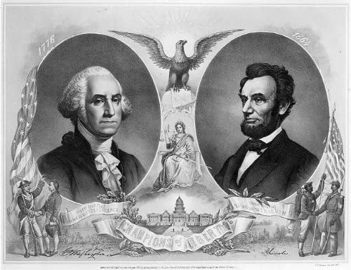 HistoricalFindings Photo: The Champions of Liberty,George Washington,Abraham Lincoln,c1865,Soldiers
