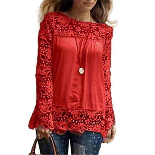 Camicia shirt Casual E Maniche Tops Blusa Elegante Donna Camicetta Honestyi Rosso Lunghe Cotone Magliette Camicie Da Maglietta Top Vintage Di Bluse A Pizzo Sciolto T 5fIgg8Mwq