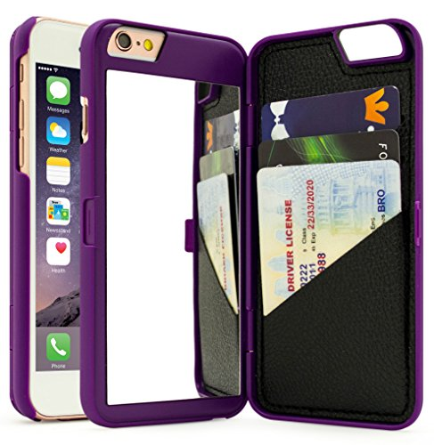 """iPhone 6 /6s Case, Bastex Hidden Back Mirror Wallet Case with Stand Feature and Card Holder for Apple iPhone 6, 6S 4.7""""- Purple"""