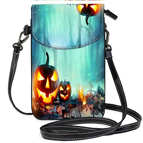 Multicolor Shoulder Messenger Bag Phone Purse Pumpkins Burning in A Spooky Forest at Night Halloween Background Multifunction Travel Crossbody Purse Wallet ()