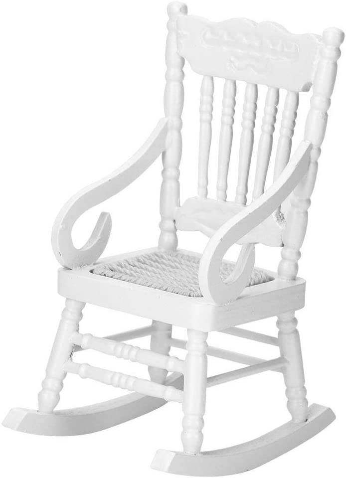 EBTOOLS 2 Colors Dollhouse Wooden Rocking Chair, 1:12 Dollhouse Miniature Furniture Wooden Rocking Chair Model for Dolls House Accessories Decor Toys Gift (White)