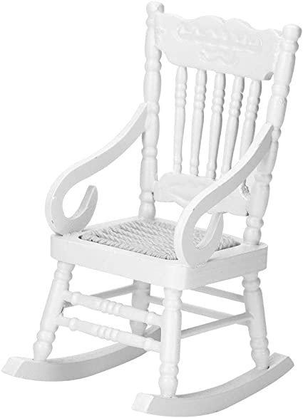 Mordern Style Wooden Chair Model Toy for 1:12 Dollhouse Miniatures White