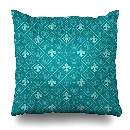 LHAO Throw Pillow Cover Medieval Blue Lis Turquoise Fleur Pattern Upholstery LYS Ancient Antique Baroque Design Home Decor Cushion Case Square Size 18 x 18 Inches Zippered Pillowcase