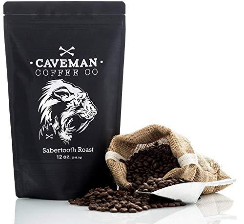 Caveman Coffee Sabertooth, Dark Roast Coffee, Single Origin Blend, Certified Paleo, Swiss Water Process, Keto, Whole Bean, 12 oz