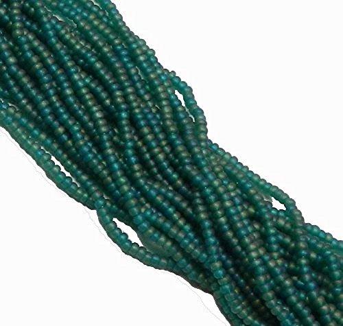 Emerald Matte Ab Czech 8/0 Glass Seed Beads 1 Full 12 Strand Hank Preciosa (Emerald Ab Beads)