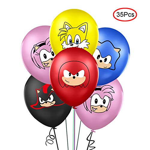Lsang 35PCS Sonic the Hedgehog Balloons Party Supplies 12