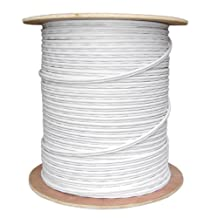 Offex Bulk RG59 Siamese Coaxial/Power Cable, White, Solid Core 18 AWG 2 Conductor Stranded Copper Power Spool 1000 Foot