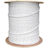 Offex OF-10X3-18291NH Bulk RG59 Siamese Coaxial/Power Cable, White, Solid Core 18 AWG 2 Conductor Stranded Copper Power Spool 1000-Feet