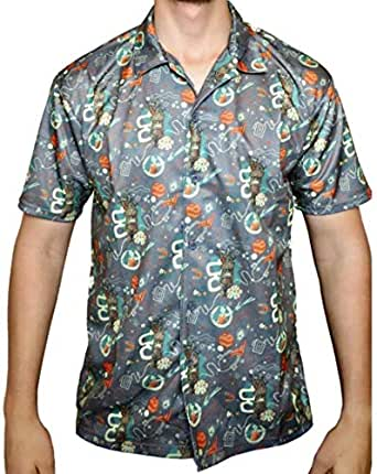 Loot Crate Guardians of The Galaxy Hawaiian Shirt Casual Button Down Short Sleeve Marvel Exclusive (M) Gray