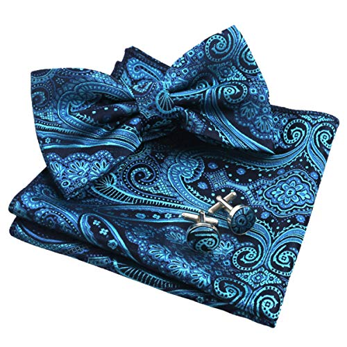 Alizeal Mens Floral Jacquard Pre-Tied Bow Tie, Hanky and Cufflinks Set, Teal