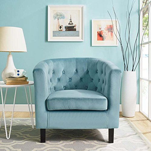 Modway Prospect Upholstered Velvet Contemporary Modern Accent Arm Chair in Sea Blue -  EEI-2613-SEA