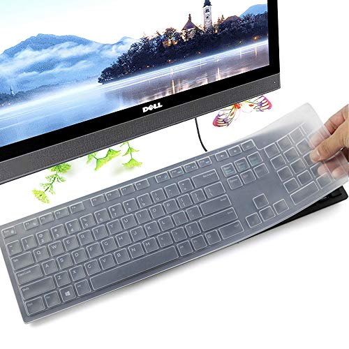 (Keyboard Protector Skin for Dell KM636 Wireless Keyboard & Dell KB216 Wired Keyboard, Clear)