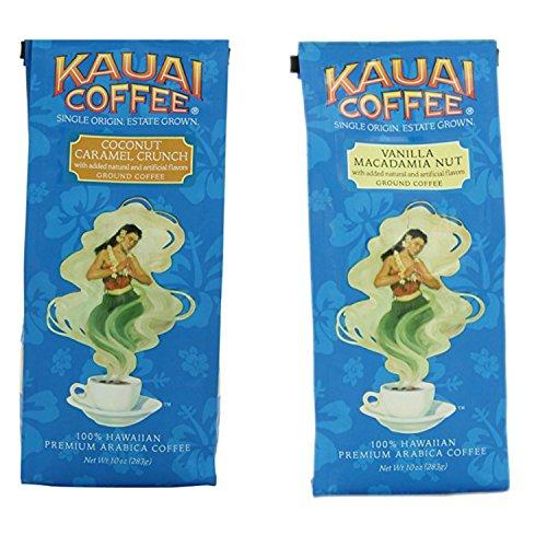 Coconut Macadamia Coffee (Kauai Coconut Caramel and Vanilla Coffee Bundle Featuring a Kauai Coconut Caramel 10 Ounce Bag Plus a Vanilla Nut Coffee 10 Ounce Bag. Easy to Buy With 1 Click. Snacking Heaven!)