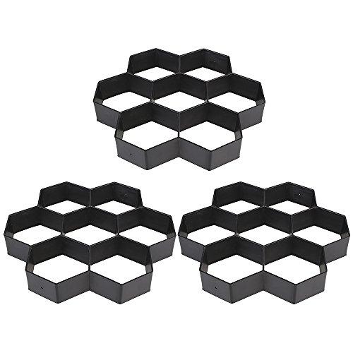 Cheap  TOPmountain 3 pcs DIY Black Hexagon Driveway Paving Pavement Stone Mold Concrete..