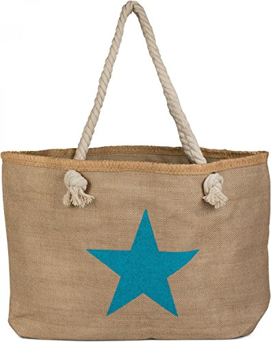 XXL bast Brown zipper large Turquoise print star in ladies beach bag color shopping with 02012166 Turquoise bag Brown in styleBREAKER swimming bag look vqHP0EwH
