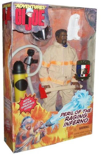 G.I Joe 1999 The Adventures 35 Years 12 Inch Action Figure Peril Of The Raging Inferno Fireman with Water Spraying Hose African American Version