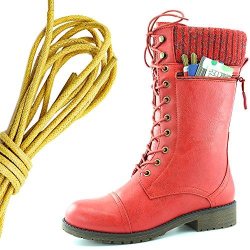 Dailyshoes Da Donna Stile Di Combattimento Lace Up Stivaletto Alla Caviglia Punta Rotonda Coltello Da Lavoro A Maglia Militare Coltello Raccoglitore Soldi Pocket Boots, Giallo Rosso Pu