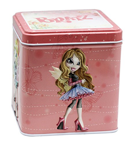 - Bratz Raised Surface Characters Light Pink Floral Tin Storage Box