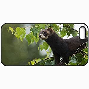 Customized Cellphone Case Back Cover For iPhone 5 5S, Protective Hardshell Case Personalized Ferret Black