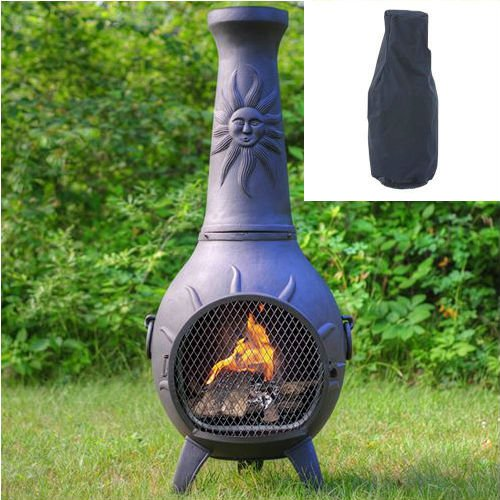Blue Rooster Sun Stack Wood Burning Outdoor Metal Chiminea Fireplace Charcoal Color with Large Black Cover by Blue Rooster