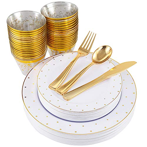 (NERVURE 25 Guest Party Disposable Dinnerware Set - Gold Star Plastic Plates and Gold Rim Cup for 25 Guests (25 10.3'' Dinner Plates+25 7.5'' Dessert Plates+25 Gold Dinnerware+25 9oz Cups))