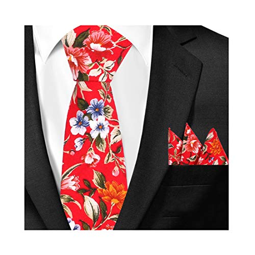 Men Blod Red Lily Flower Patterned Ties Set Narrow Designer Hanky Slim Neckties