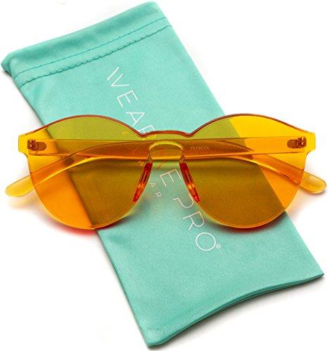 (WearMe Pro - Colorful Transparent Round Super Retro Sunglasses (Orange,)