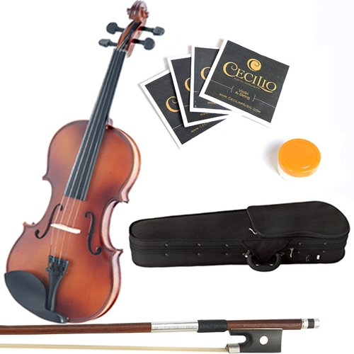 Mendini 1/16 MV300 Solid Wood Satin Antique Violin with Hard Case, 2-Bows, Rosin and Extra Strings Case Maple Fingerboard