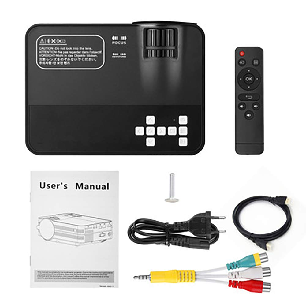 ミニプロジェクター、3200ルクスポータブルホームムービーシネマ、1080P対応、300インチプロジェクションサイズ、PS4対応、Xbox、ゲーム用HDMI、スポーツ,Black B07RR3FFDV Black