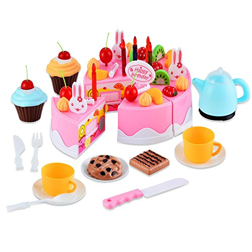 sunnymore Cutting Birthday Party Cake Pretend Play Food Fun Toys Set DIY Playset Children Girls Boys Educational Early Age Basic Skills Development 54pcs - Food Cake Play Set