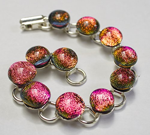 Pink Bracelet, Shiny Jewelry , handmade Bracelet, Dichroic Fused Glass, Silver Plated,color changing, 7
