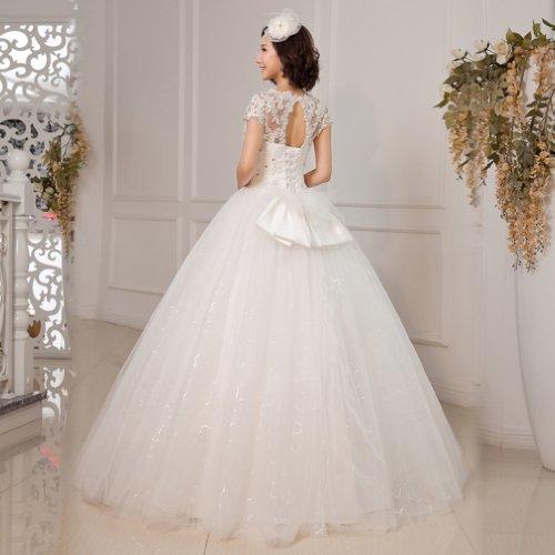 Schleife Weiß Tuell Bodenlang Kleidungen Applikation Brautkleider Mit Ausschnitt Kristall Dearta V Ballkleid Damen YXPx7XnS