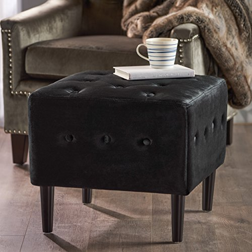 Christopher Knight Home Aleena Tufted Black Velvet Ottoman