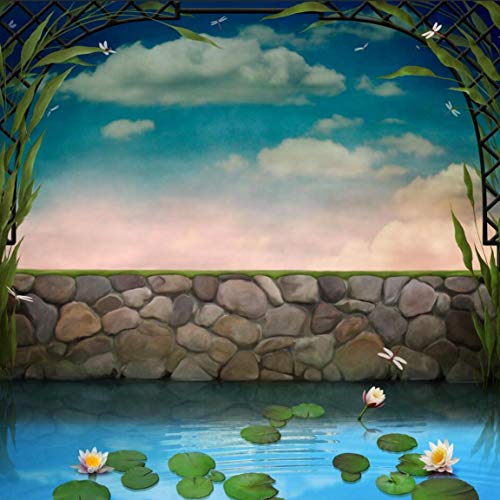 8X8FT Pond with Blossoming Lilies Pictorial Cloth Customized Photography Backdrops Digital Printing Background Photo Studio Prop