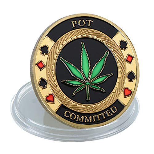 Poker Card-Guard Coin Collectibles Table Games Poker Card-Guard Golden Coin w/Plastic Case, Poker Chips Coin, A Great Coin Collecting Gifts for Husband, Father, Friends