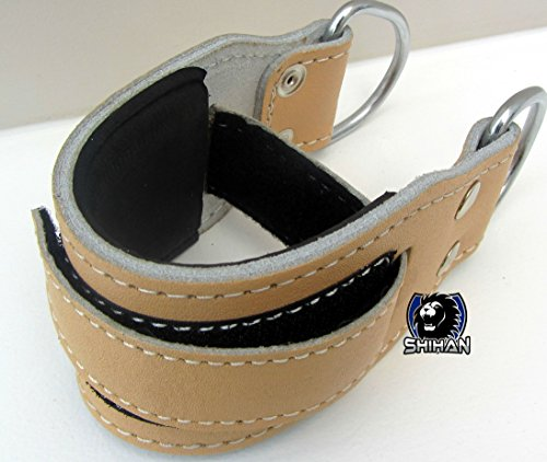 INFINITY Natural/Leather GYM ANKLE STRAP 'POWER-STRAP Foot/Flex Ankle Strap SOLD SINGLE Padded Support Cable Machine Multi-Gym Machine Attachment with D-Ring by NWS SHIHAN