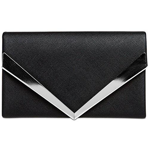 de décor soirée en CASPAR Pochette avec enveloppe élégant à métal pour Noir femme main clutch TA368 Sac OSfOvFq