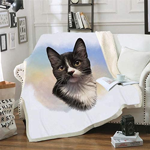 GSDJU Fashion French Dog Cute Pets Kitty Cat Blanket for Children Cotton Blankets for Beds Sherpa Throw Bedspread