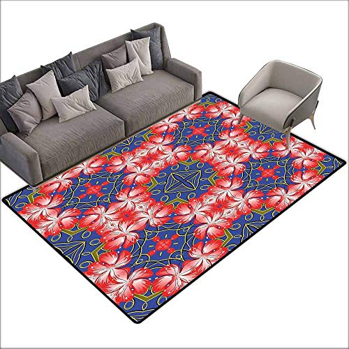 (Room Bedroom Floor Rug Floral Blooms Pattern on Diamond Shaped Bands Vibrant Flowers Glamour Beauty Print Durable W6'7 x L9'10 Royal Blue Red Gold)