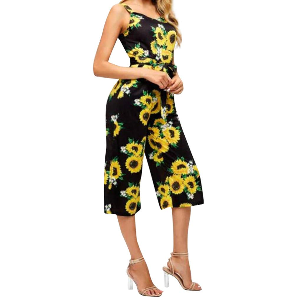 Womens Casual Sleeveless Spaghetti Strap Jumpsuit Rompers Sunflower Print Belted Wide Leg Palazzo Cropped Pants Lightweight Breathable Summer Lounge Loose Playsuit