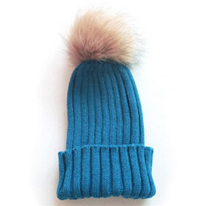 ff1333806 Faux Rabbit Fur Pompom Knitted Beanie Winter Hats for Women Warm Pom ...